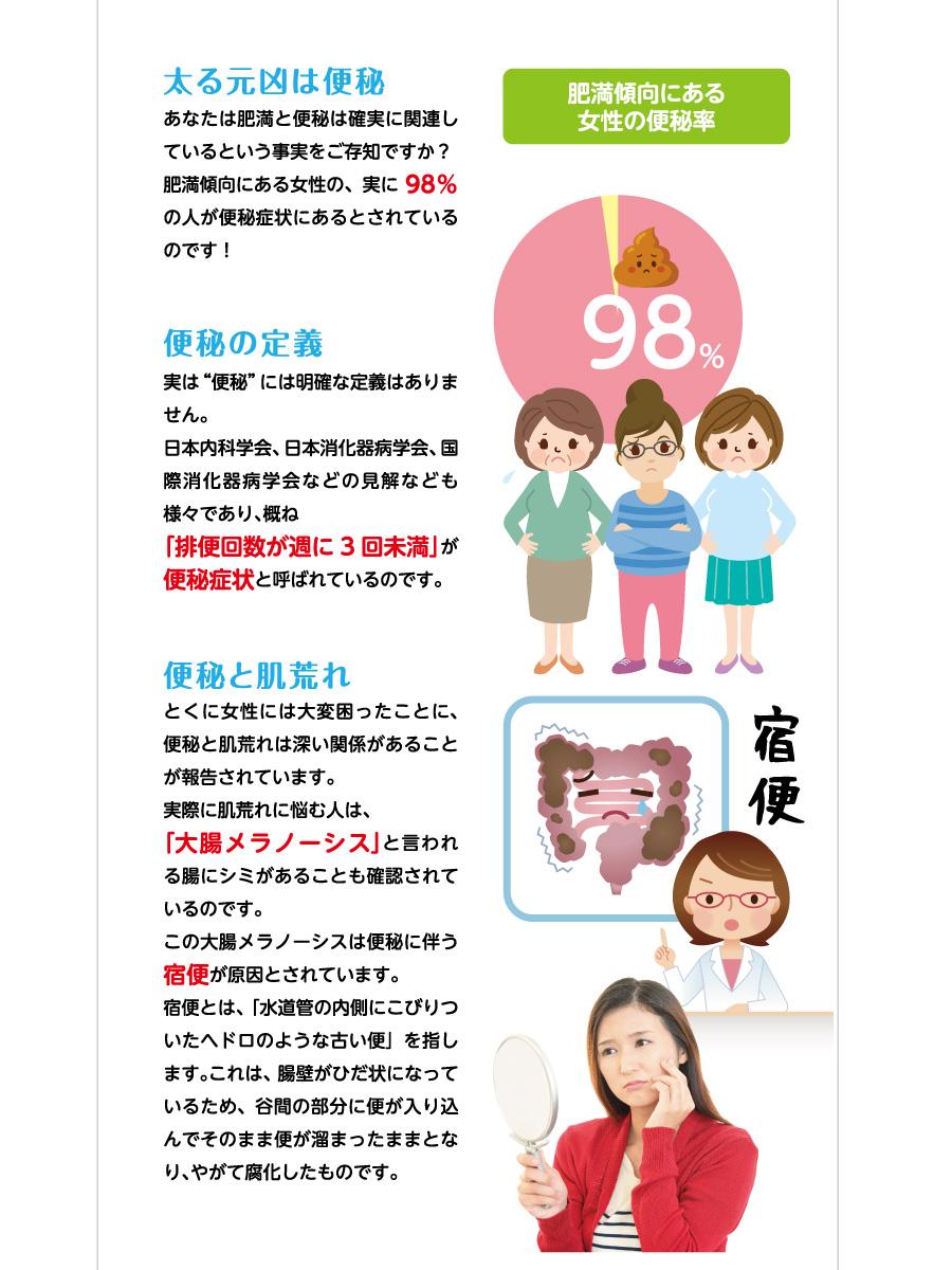 """太る元凶は便秘/あなたは肥満と便秘は確実に関連しているという事実をご存知ですか?肥満傾向にある女性の、実に98%の人が便秘症状にあるとされているのです! 便秘の定義/実は""""便秘""""には明確な定義はありません。日本内科学会、日本消化器病学会、国際消化器病学会などの見解なども様々であり、概ね「排便回数が週に3回未満」が便秘症状と呼ばれているのです。 便秘と肌荒れ/とくに女性には大変困ったことに、便秘と肌荒れは深い関係があることが報告されています。実際に肌荒れに悩む人は、「大腸メラノーシス」と言われる腸にシミがあることも確認されているのです。この大腸メラノーシスは便秘に伴う宿便が原因とされています。宿便とは、「水道管の内側にこびりついたヘドロのような古い便」を指します。これは、腸壁がひだ状になっているため、谷間の部分に便が入り込んでそのまま便が溜まったままとなり、やがて腐化したものです。"""