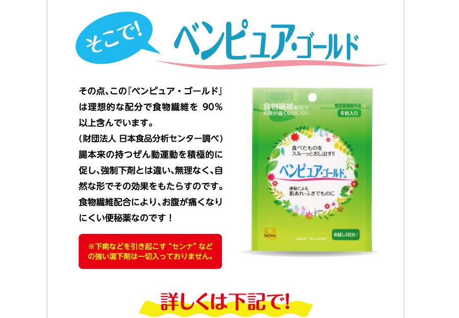 """そこで!ベンピュア・ゴールド その点、この『ベンピュア・ゴールド』は理想的な配分で食物繊維を90%以上含んでいます。(財団法人 日本食品分析センター調べ)腸本来の持つぜん動運動を積極的に促し、強制下剤とは違い、無理なく、自然な形でその効果をもたらすのです。食物繊維配合により、お腹が痛くなりにくい便秘薬なのです!※下痢などを引き起こす""""センナ""""などの強い瀉下剤は一切入っておりません。"""